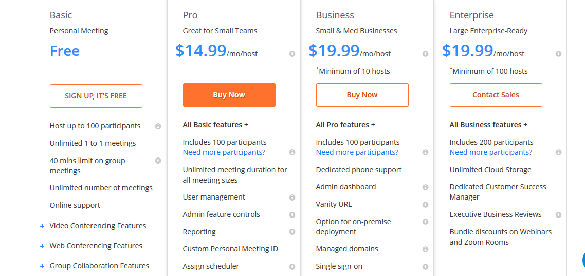 Zoom vs GoToMeeting vs WebEx pricing