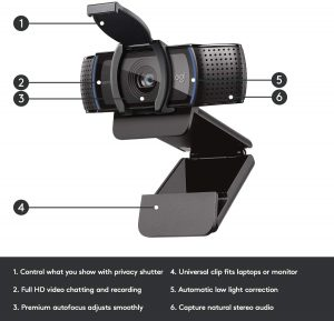 Computer HD Pro Webcam C920S with Privacy Shutter