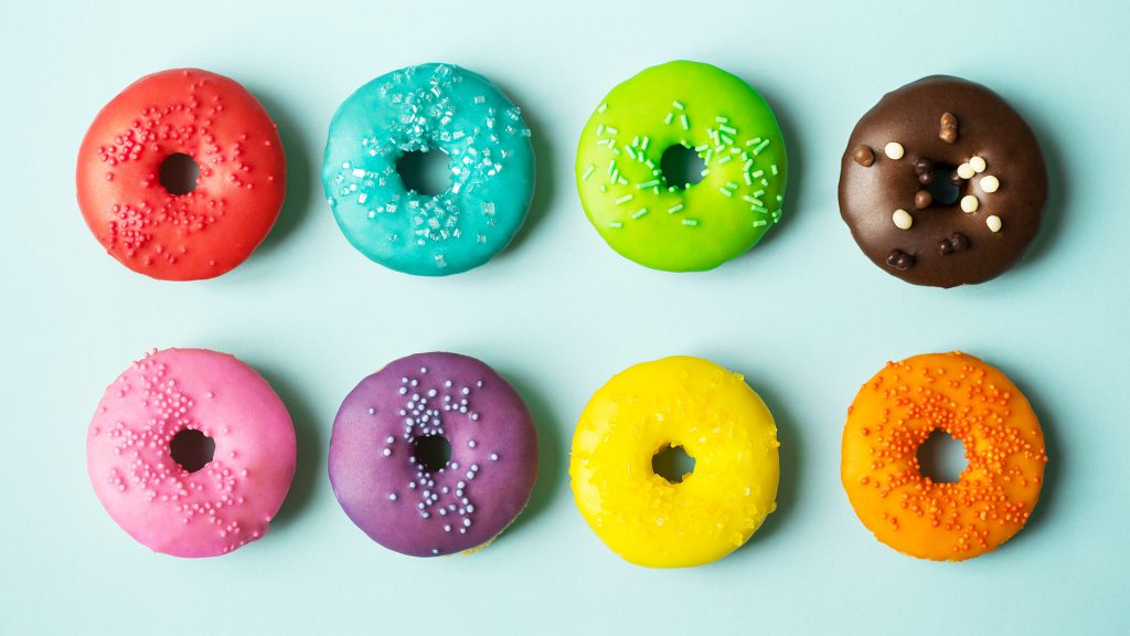 Funny Colorful Doughnuts Meme Zoom Background