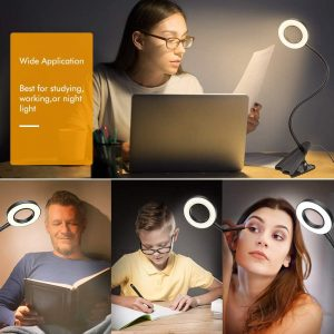 Clip Light Reading Lights-ZEXMTE LED Clamp Light with 3 Color Modes