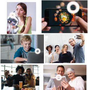 Disnadda Selfie Ring Light,3 Lighting Modes Rechargeable Clip on Selfie Fill Light