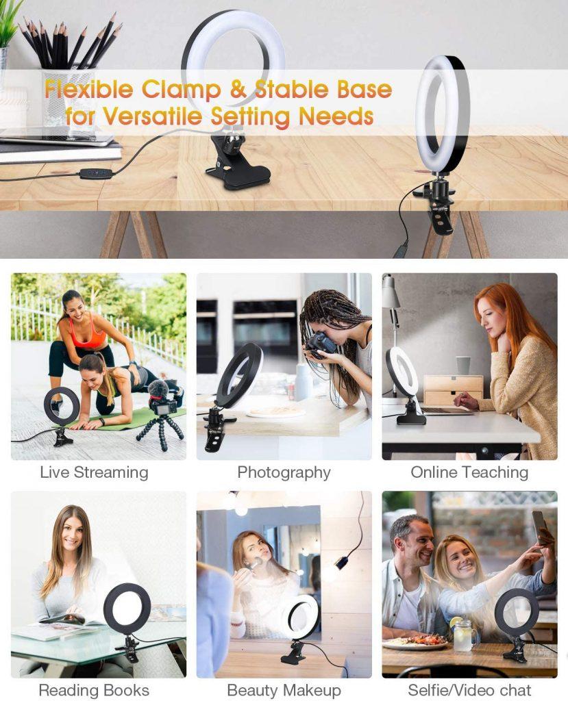 ELEGIANT 6.3 Inch Selfie Ring Light with Clamp Mount