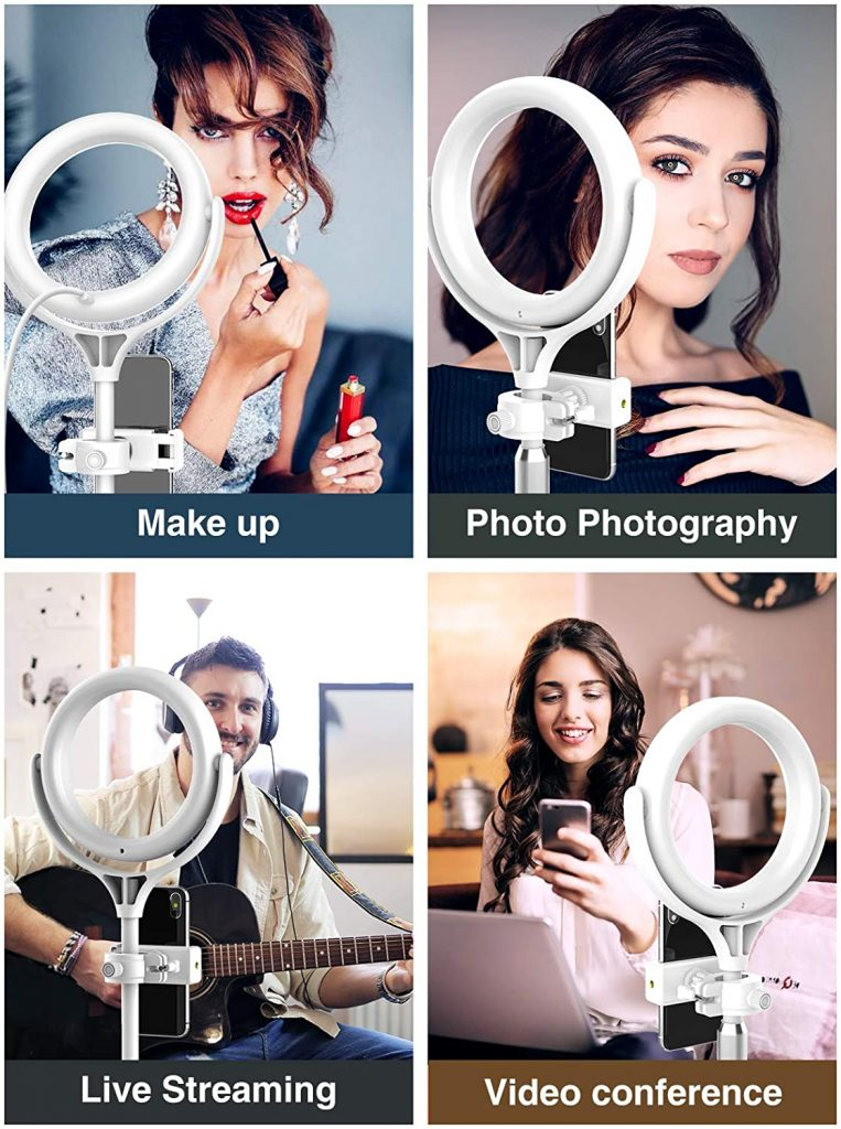 Elitehood 8 Inch Small Ring Light, Desk Ring Light with Weighted Metal Stand