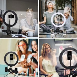 LED Ring Light 10 Inch with Stand,Desktop Selfie Ringlight for Video Conferencing