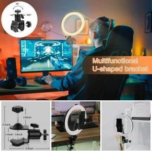 Ring Light MACTREM LED Light Ring with Tripod, Clamp & Phone Holder