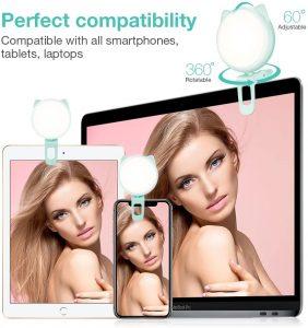 Selfie Light for Laptop Video, Ring Light with 9-Level Adjustable Brightness