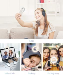 Selfie Ring Light, SYOSIN Rechargeable Portable Clip-on Ring Light for Phone Laptop and Camera