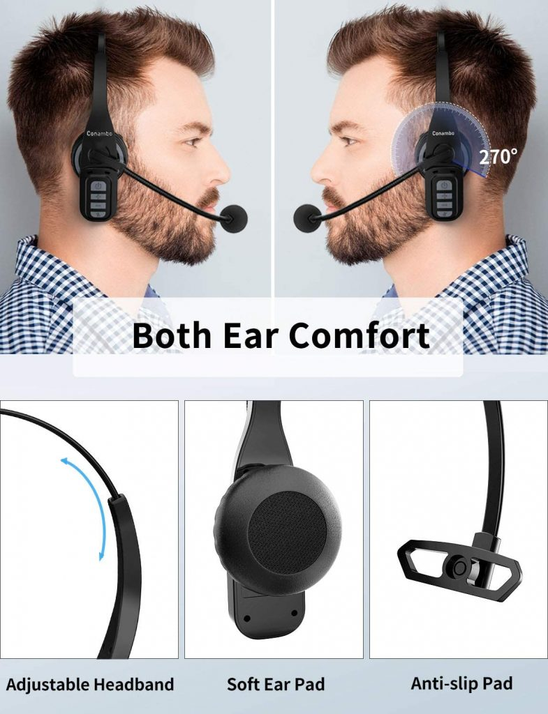 Trucker Bluetooth Headset 5.0 with Microphone Noise Cancelling Wireless Phone Headset