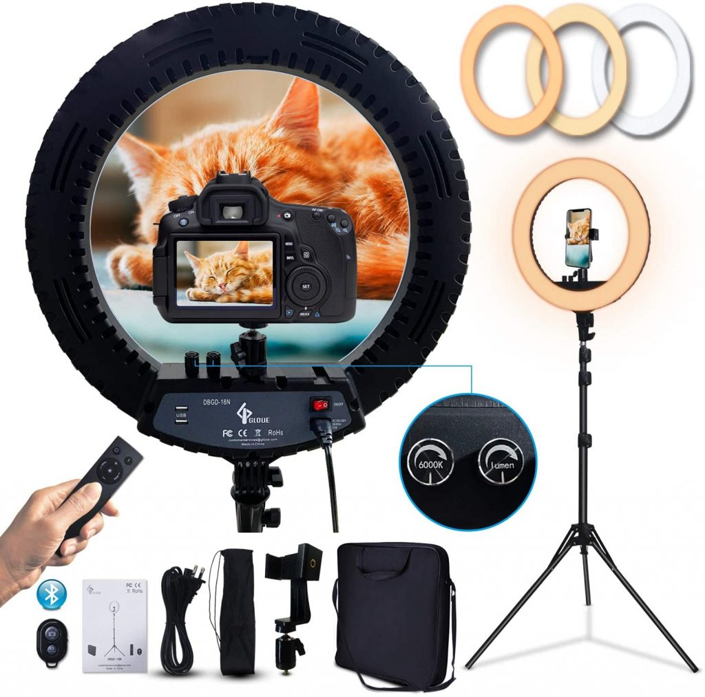 GLOUE 18 Inch Pro Ring Light Kit with Tripod Stand